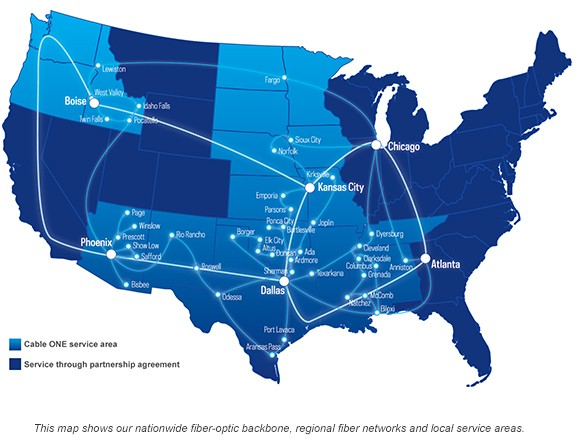 Cable One next year will be over 200 cities push 1G broadband services in the United States